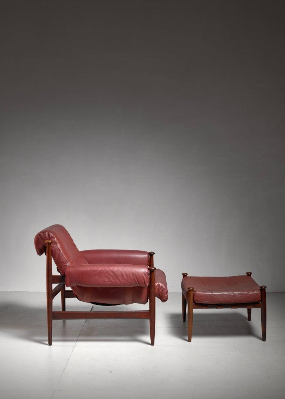 Scandinavian Modern Eric Merthen Lounge Chair with Ottoman, Sweden, 1960s For Sale