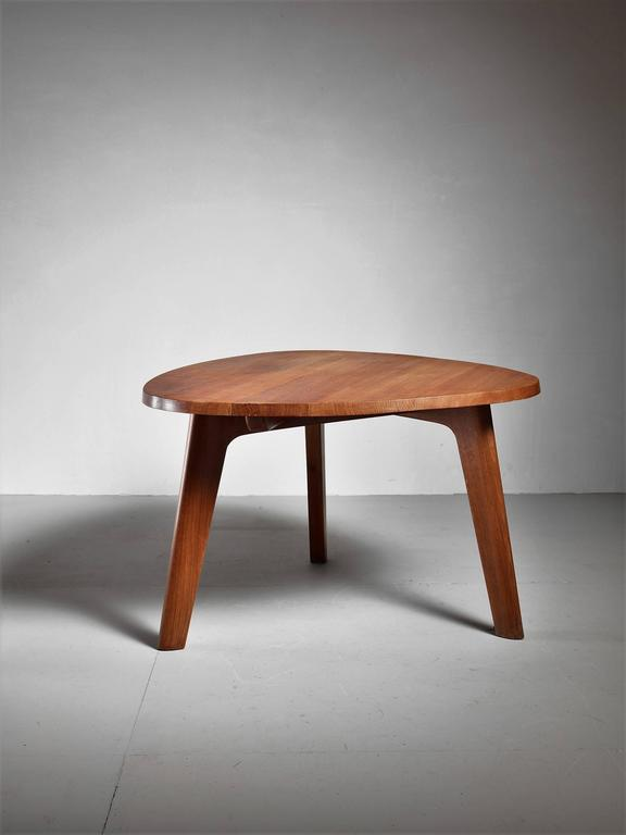 Triangular Oak Dining Or Breakfast Table France 1960s