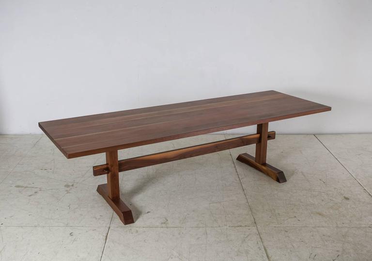 Rude Osolnik Unique And Long Walnut Trestle Table, USA, 1960s 2