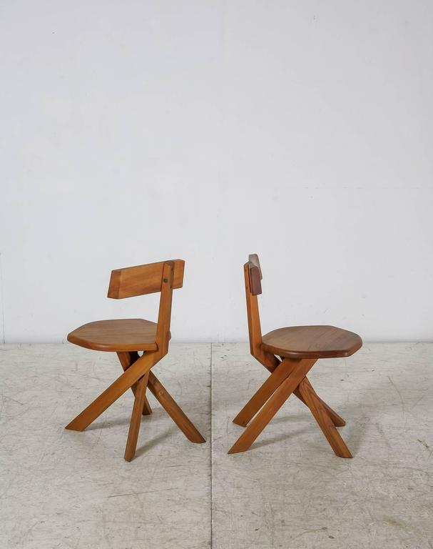 Of four chairs in oak and patinated cognac leather for sale at 1stdibs - Pair Of Pierre Chapo S34 Elm Chairs France 1960s For