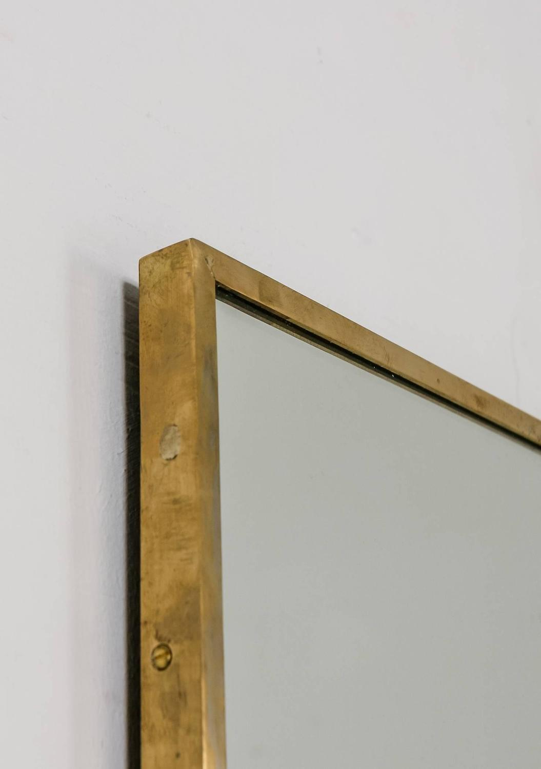 Large Rectangular Brass Wall Mirror Italy 1950s For Sale