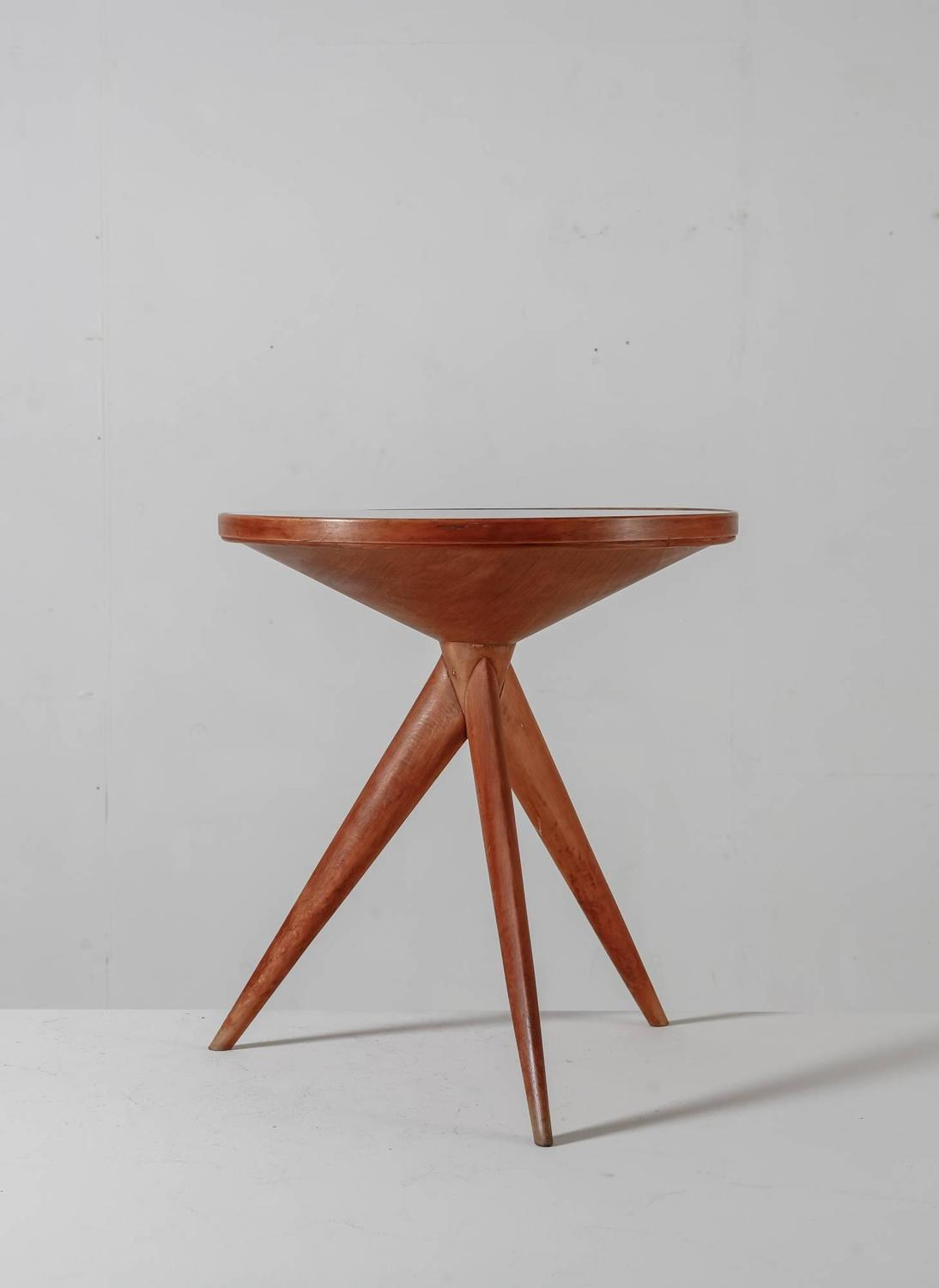 Side Table In Fruitwood With Glass Top Italy 1940s For Sale At 1stdibs
