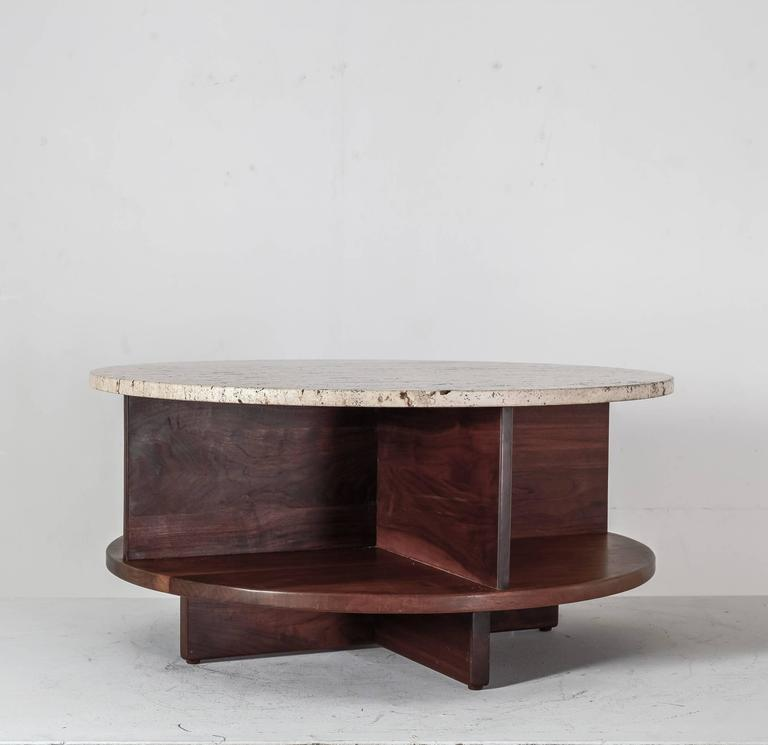 Modern Coffee Tables Usa: Arden Riddle Rotating Walnut And Travertine Coffee Table