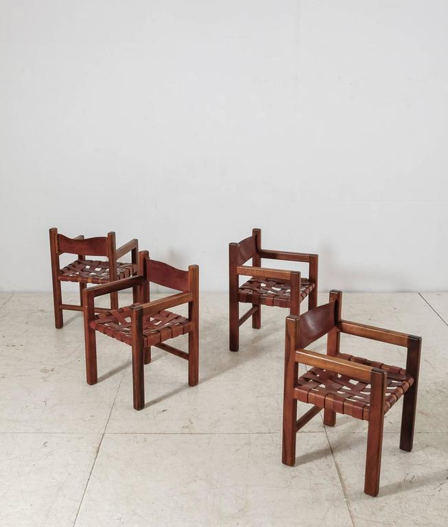 Set Of Four Studio Crafted Leather Webbed Chairs Usa