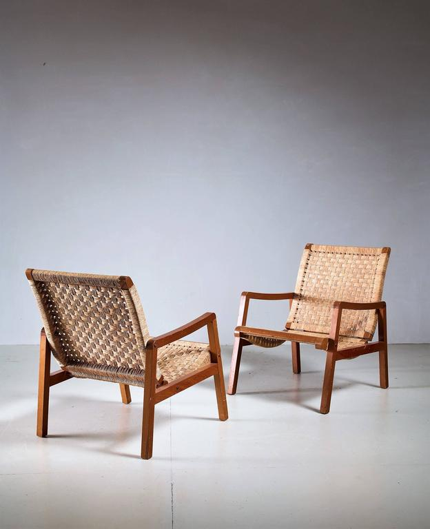 Mid Century Modern Pair Of Mexican Wood And Cane Armchairs, 1950s For Sale