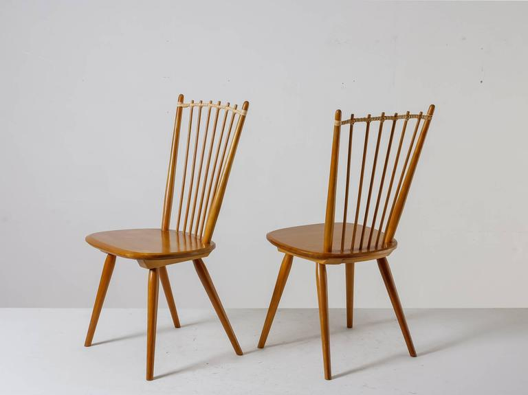 Wonderful Albert Haberer Pair Of Arts And Crafts Chairs, Germany, Circa 1950 2