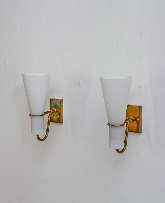 Brass Bedside Wall Lamps : Asea brass and opaline glass bedside wall lamps, Sweden, 1950s For Sale at 1stdibs
