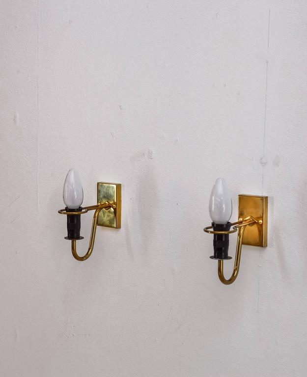 Asea brass and opaline glass bedside wall lamps, Sweden, 1950s For Sale at 1stdibs