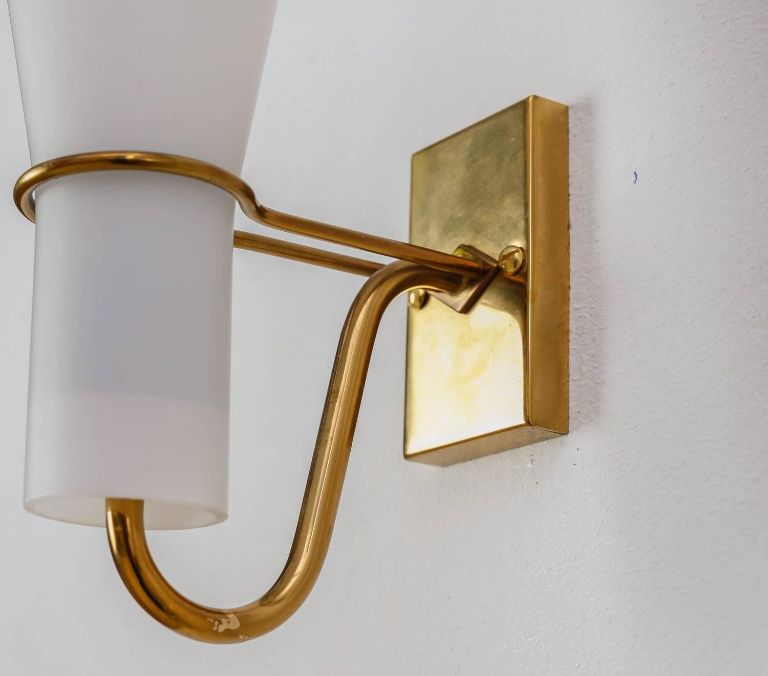 Brass Bedside Wall Lights : Asea brass and opaline glass bedside wall lamps, Sweden, 1950s For Sale at 1stdibs