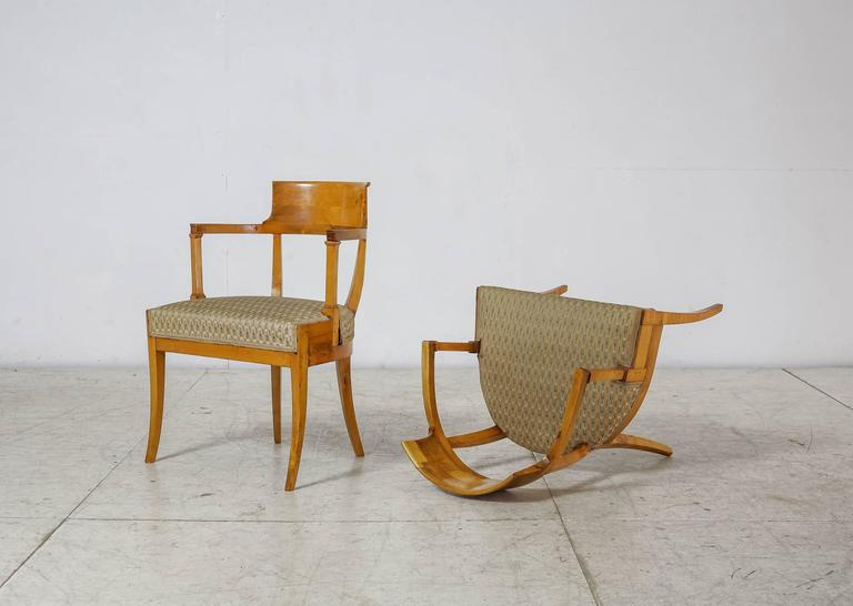 Neoclassical Pair of Alfred Grenander Attributed Birch Armchairs, Sweden, Late 19th Century For Sale
