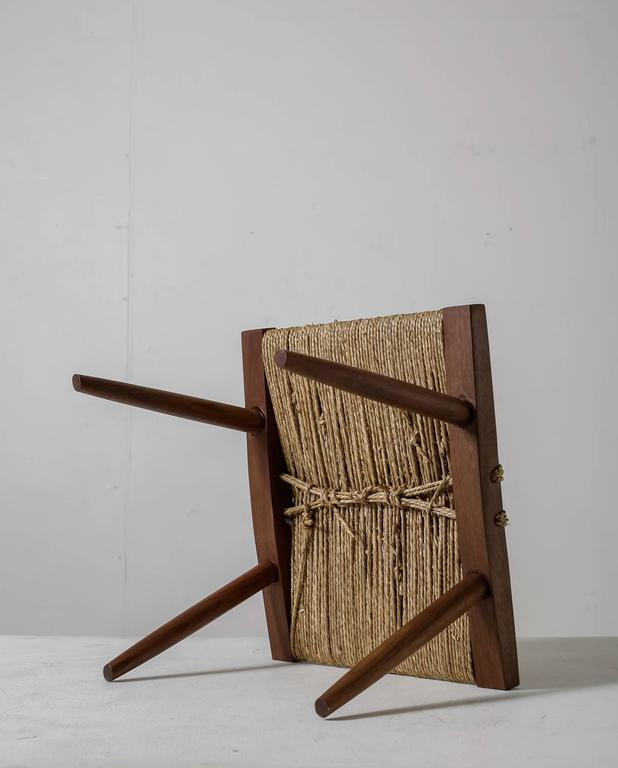 George Nakashima Walnut With Grass Rope Stool Usa 1950s