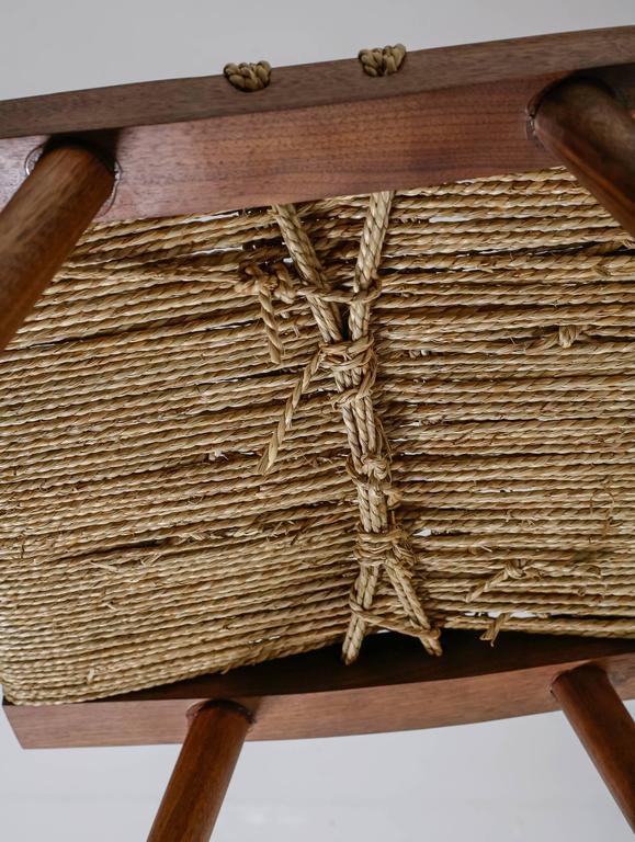 George Nakashima Walnut With Grass Rope Stool Usa 1950s