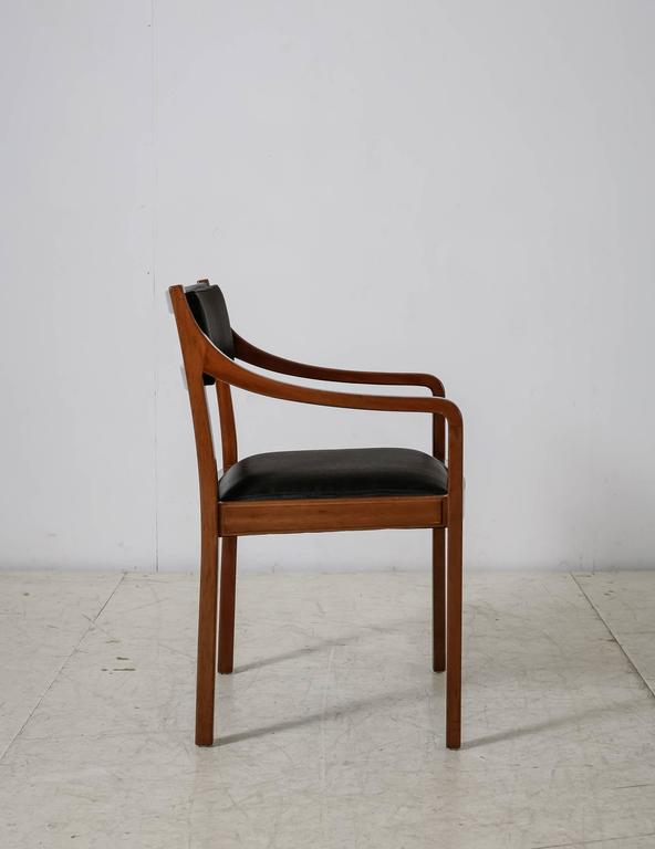 Mid-Century Modern Mahogany Armchair with Black Horsehair Upholstery, Denmark, 1950s For Sale