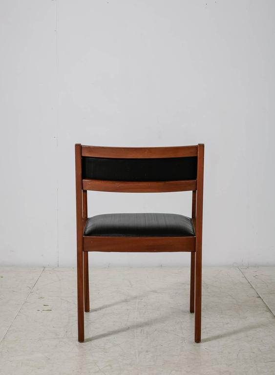 Danish Mahogany Armchair with Black Horsehair Upholstery, Denmark, 1950s For Sale