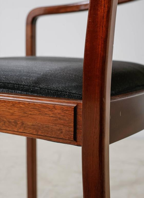 Mahogany Armchair with Black Horsehair Upholstery, Denmark, 1950s For Sale 3