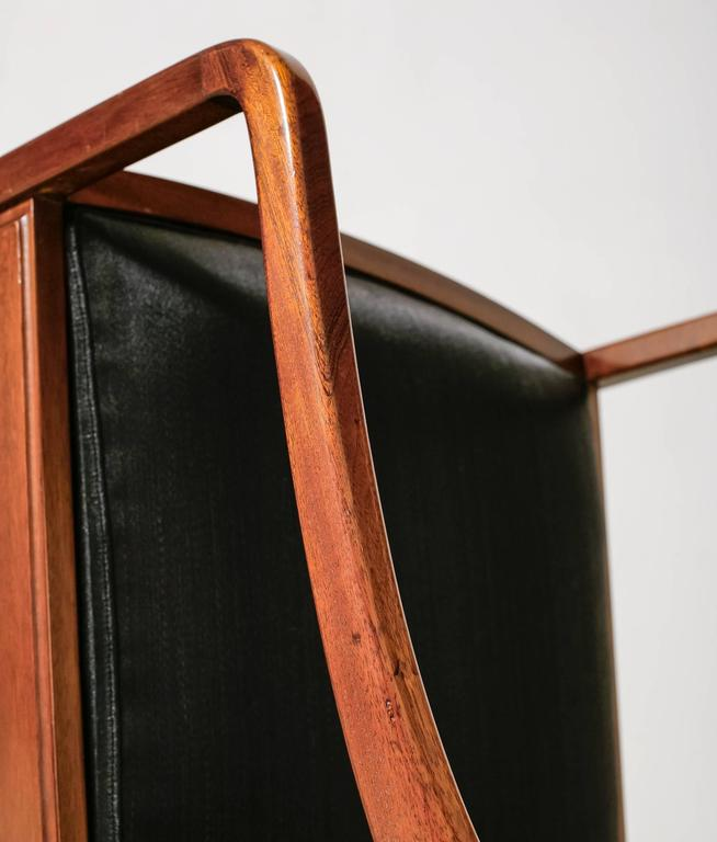 Mahogany Armchair with Black Horsehair Upholstery, Denmark, 1950s For Sale 2
