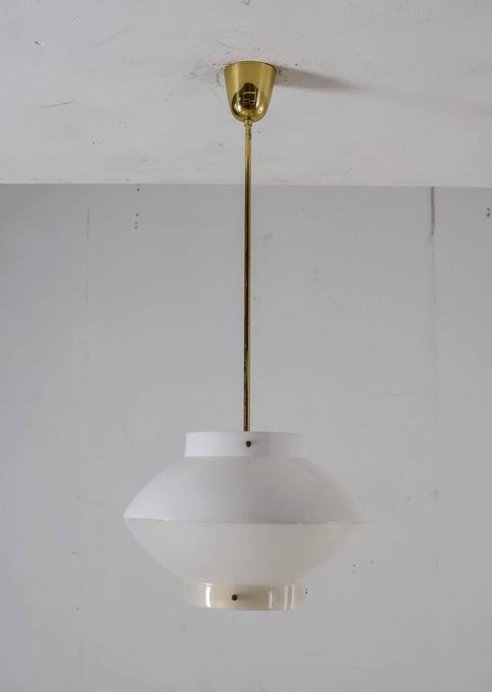 Scandinavian Modern Yki Nummi White Plexiglass and Brass Pendant for Orno, Finland, 1960s For Sale