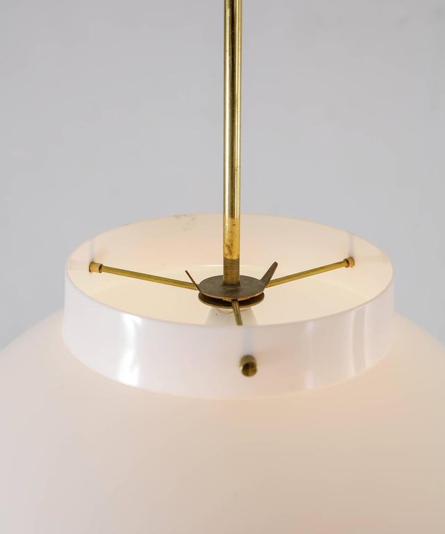 Yki Nummi White Plexiglass and Brass Pendant for Orno, Finland, 1960s For Sale 1