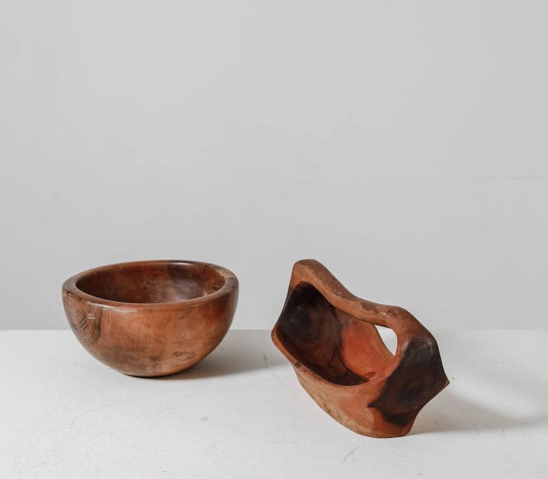 Arts and Crafts Pair of Sculptural Wooden Bowls, France, 1950s For Sale