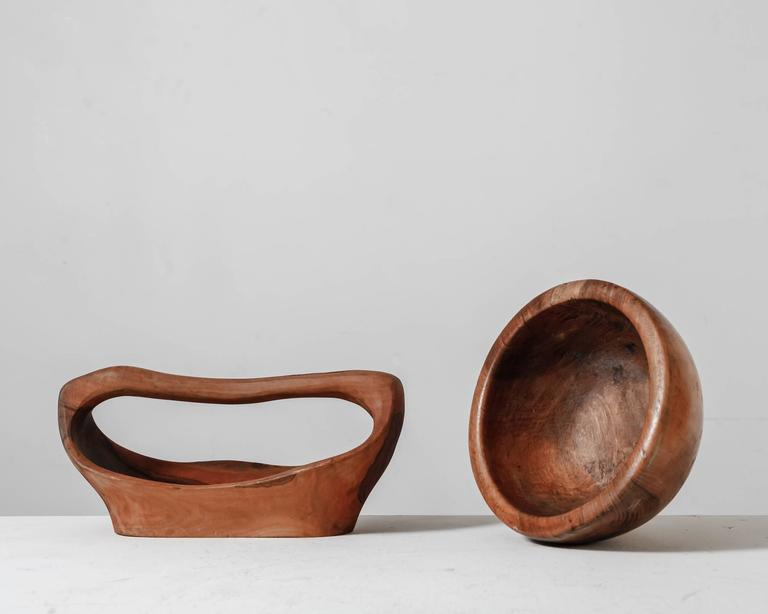 French Pair of Sculptural Wooden Bowls, France, 1950s For Sale
