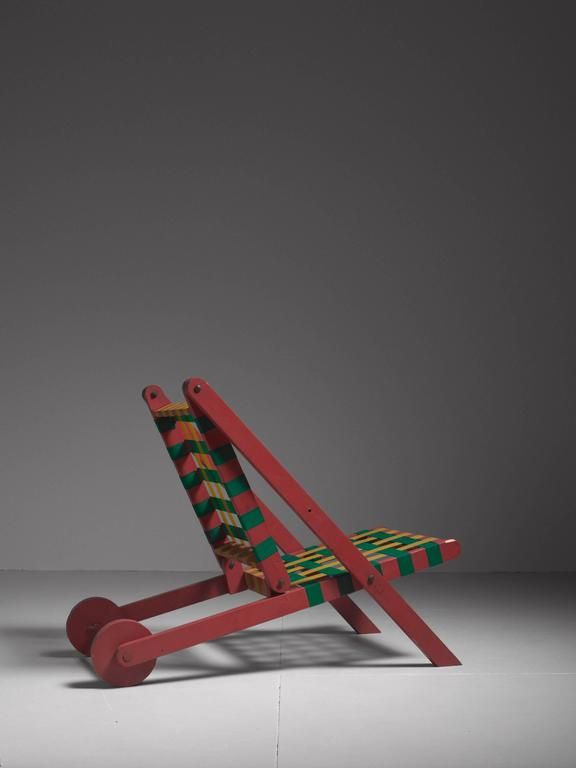 American Easi-Bild Folding Red Wood Indoor Outdoor Lounge Chair with Webbing, USA, 1950s For Sale