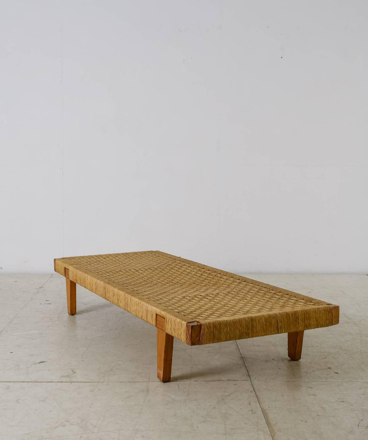 Mexican Wood And Cane Bench Or Daybed 1950s For Sale At