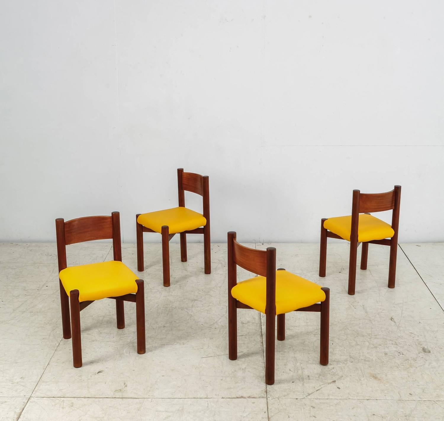 Yellow Dining Room Chairs: Charlotte Perriand Chairs With Yellow Leather Cushions