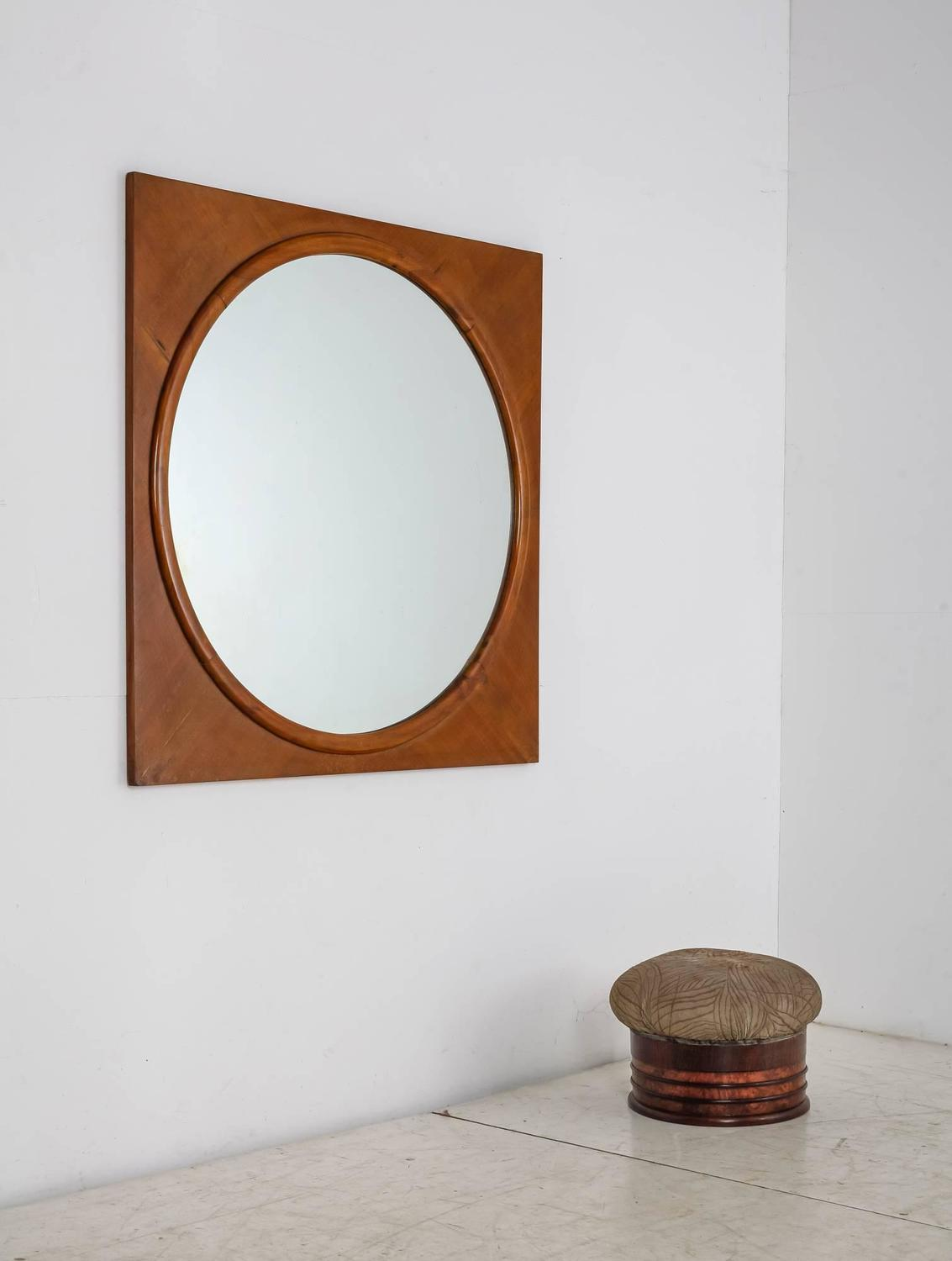 Large round wall mirror in square walnut frame italy for Large round mirrors for sale