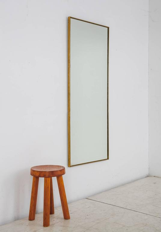 Large Rectangular Wall Mirror large rectangular wall mirror with beaded brass frame, italy