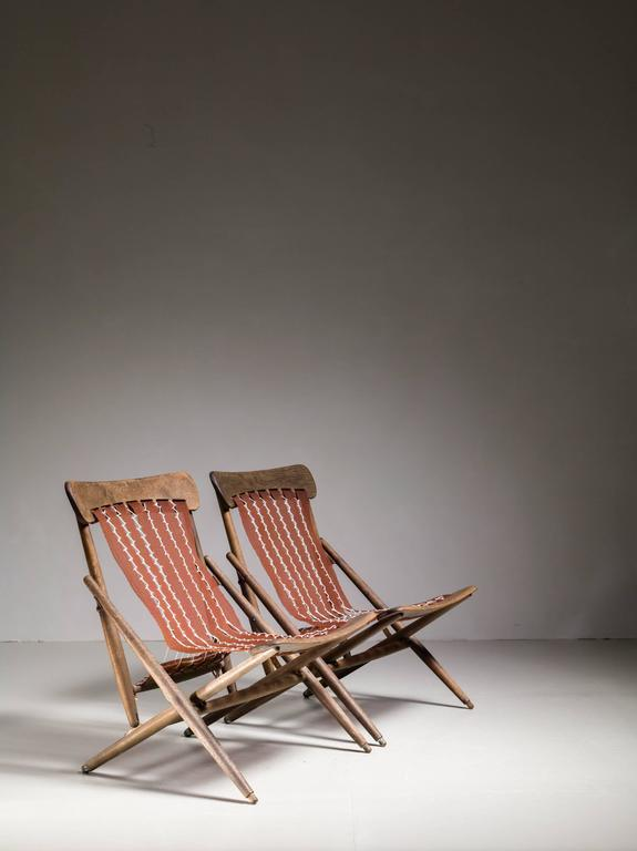 Japanese Maruni Studio Foldable Lounge Chairs, Japan, 1940s For Sale