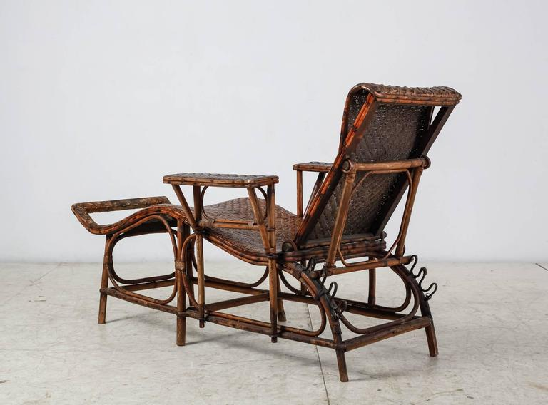 Adjustable bamboo and rattan garden chaise germany 1920s for 1930s chaise lounge