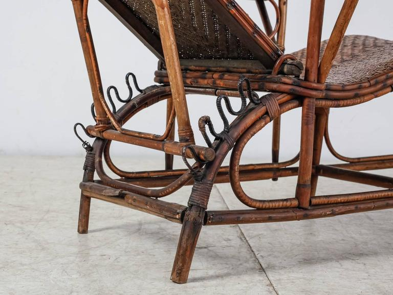 Adjustable Bamboo And Rattan Garden Chaise Germany 1920s