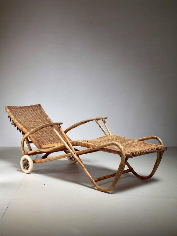 Bamboo Adjustable With WheelsGermany1920s Chaise And Rattan 1930s XuwZkiTOP