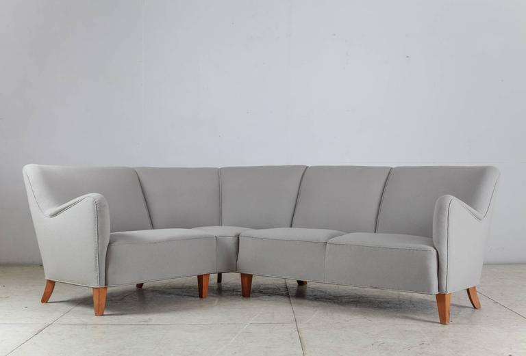 Scandinavian Modern Corner Sofa with Light Grey Wool Upholstery, Denmark, 1940s For Sale