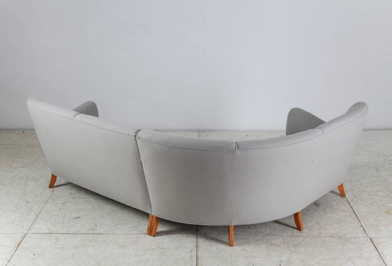 Danish Corner Sofa with Light Grey Wool Upholstery, Denmark, 1940s For Sale