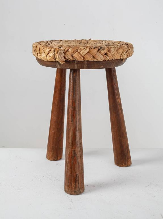 French Campagne Style Wood And Rope Tripod Stool 1950s At