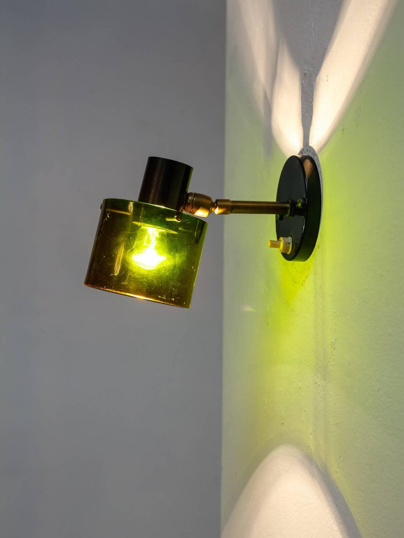 Green Metal Wall Lights : Rare Italian Wall Lamp of Black Lacquered Metal and Green Plexiglass, 1950s at 1stdibs