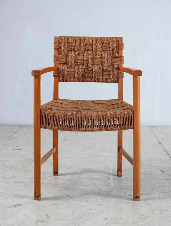 Danish Beech and Woven Seagrass Armchair, Denmark, 1940s For Sale