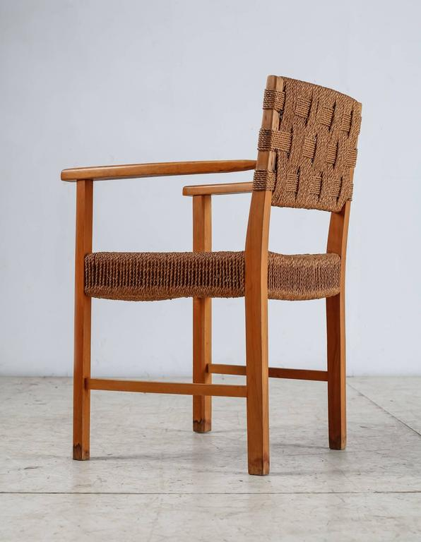 Beech and Woven Seagrass Armchair, Denmark, 1940s In Excellent Condition For Sale In Maastricht, NL