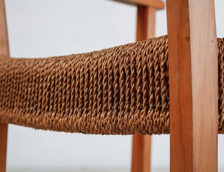 Beech and Woven Seagrass Armchair, Denmark, 1940s For Sale 3