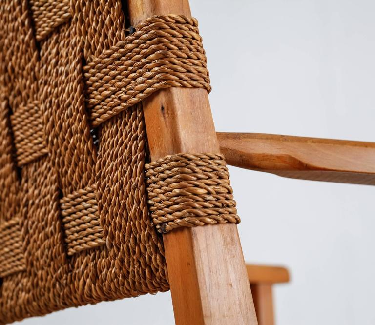 Beech and Woven Seagrass Armchair, Denmark, 1940s For Sale 2