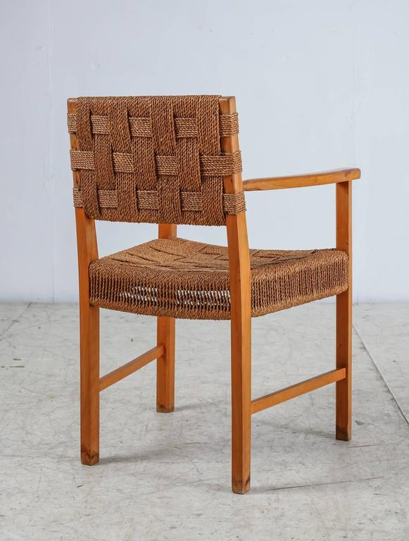 Mid-20th Century Beech and Woven Seagrass Armchair, Denmark, 1940s For Sale