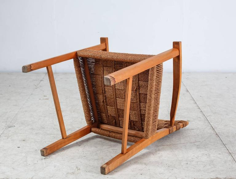 Beech and Woven Seagrass Armchair, Denmark, 1940s For Sale 1