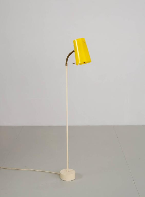 Scandinavian Modern Floor Lamp with Yellow Plexiglass Adjustable Shade, 1950s 7