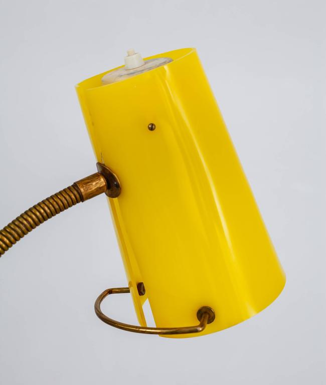 Scandinavian Modern Floor Lamp with Yellow Plexiglass Adjustable Shade, 1950s 9