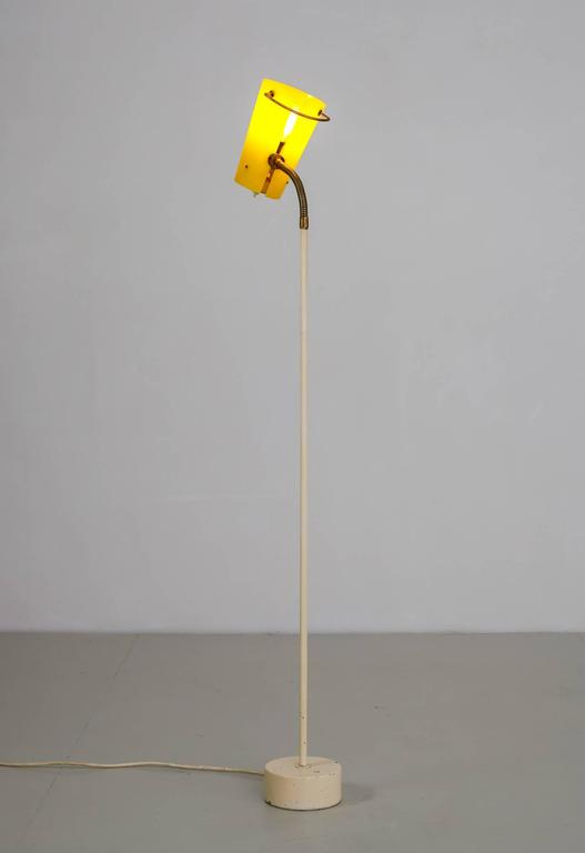 Scandinavian Modern Floor Lamp with Yellow Plexiglass Adjustable Shade, 1950s 4