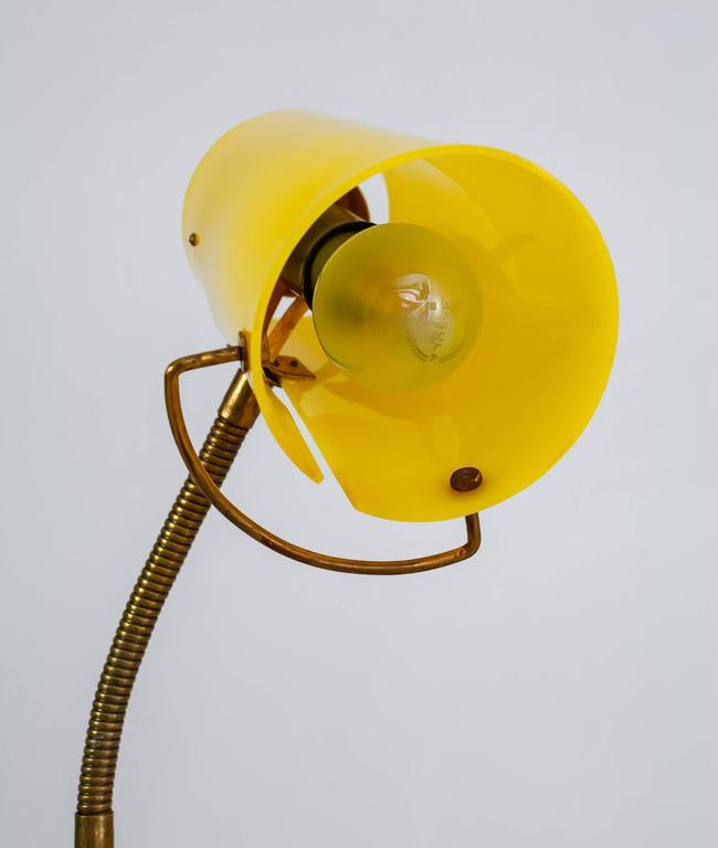 Scandinavian Modern Floor Lamp with Yellow Plexiglass Adjustable Shade, 1950s 8