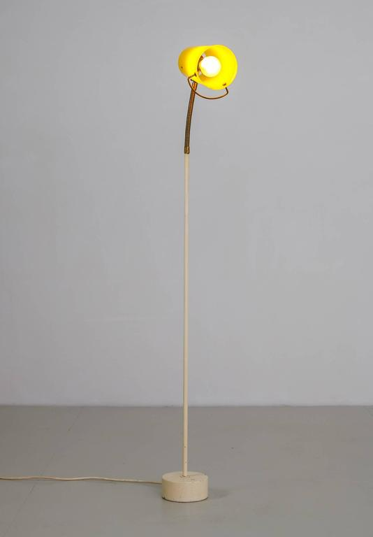 Mid-20th Century Scandinavian Modern Floor Lamp with Yellow Plexiglass Adjustable Shade, 1950s For Sale
