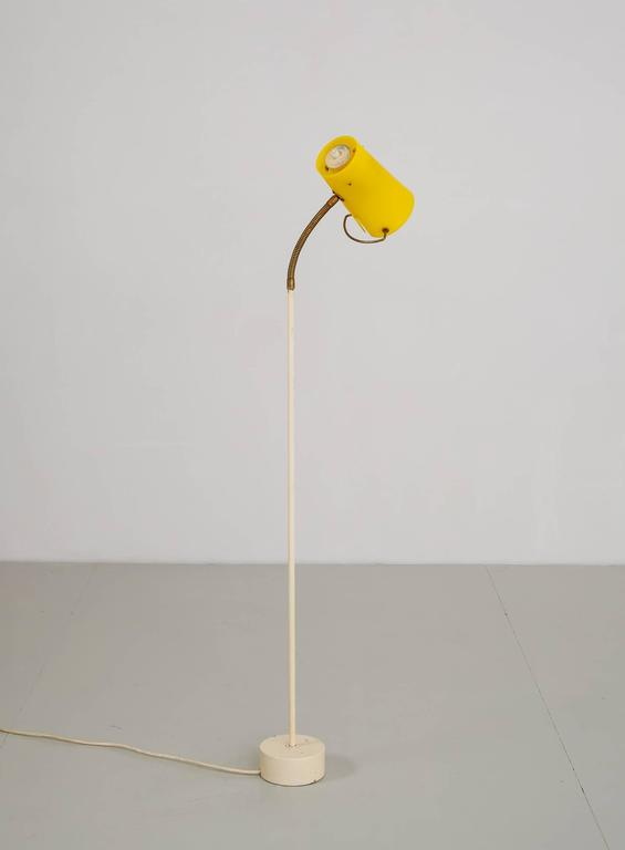 Scandinavian Modern Floor Lamp with Yellow Plexiglass Adjustable Shade, 1950s 6