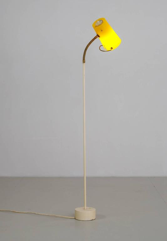Scandinavian Modern Floor Lamp with Yellow Plexiglass Adjustable Shade, 1950s 3